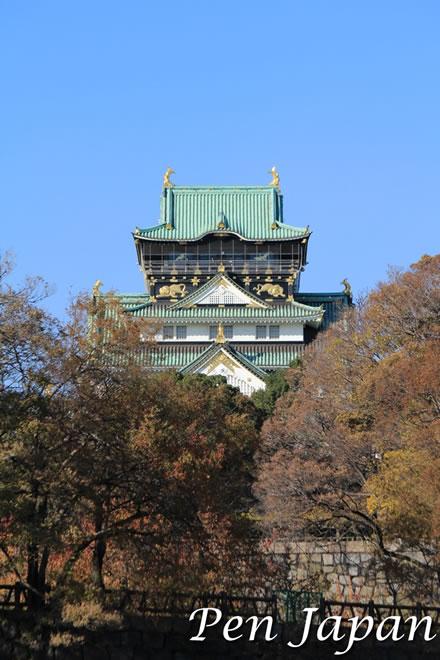 玉造口から見た大阪城天守閣